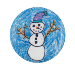 Snowman Illustration Art Button Museum