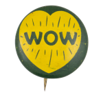 Wow Yellow Heart Art Button Museum