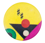 Yellow and Pink with Black Triangle Art Button Museum