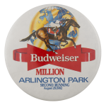 Budweiser Arlington Million 1982 Beer Busy Beaver Button Museum