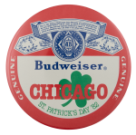 Budweiser St Patrick's Day Chicago 82 Beer Busy Beaver Button Museum