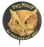 Owl-Musty Be Wise and Get Next Beer Button Museum