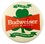 Shamrock Budweiser Chicago Beer Busy Beaver Button Museum