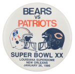 Bears vs Patriots 1986 Chicago Button Museum