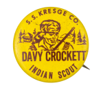 Davy Crockett Indian Scout S.S. Kresge Co. Club Button Museum