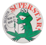 Girl Scouts Superstar Frog Club Button Museum