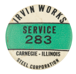 Irvin Works Steel Corporation Club Button Museum