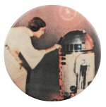 Princess Leia and R2D2 Star Wars Entertainment Busy Beaver Button Museum
