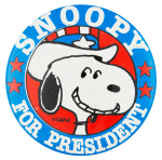 Snoopy for President with Hat Entertainment Button Museum