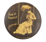 Star of Vaudeville Charmion Sitting on a Swing Entertainment Button Museum
