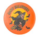 Happy Halloween Witch Event Button Museum