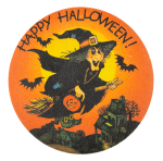 Happy Halloween Witch Over Houses Event Button Museum