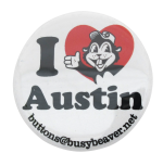 I heart Austin button back Button Museum