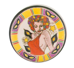 Flower Haired Woman Music Button Museum