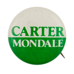 Carter Mondale White Over Green Political Busy Beaver Button Museum