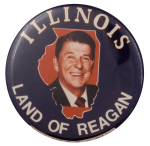 Illinois Land of Reagan State Political Busy Beaver Button Museum