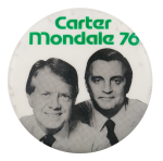 Carter Mondale 76 Portraits Green Political Button Museum