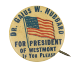 Dr. Gaius W. Hubbard for President Political Button Museum