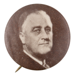 Franklin D. Roosevelt Black and White Portrait Political Button Museum