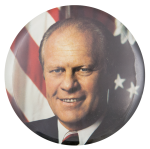 Gerald Ford Color Portrait Political Button Museum