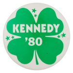Kennedy '80 Four Leaf Clover Political Button Museum