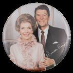 Nancy and Ronald Reagan Color Portrait Political Button Museum