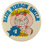 Blue Ribbon Smile Social Lubricators Button Museum