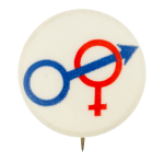 Male and Female Symbols Social Lubricator Button Museum