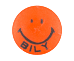 Bob Bily Smiley Orange Smiley Button Museum