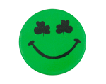 Green Shamrock Eyes 2 Smileys Button Museum