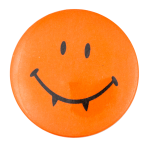 Orange Fanged Smiley Smileys Button Museum