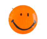 Orange Smiley 5 Smileys Button Museum