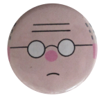 Chris Ware Face with Glasses Art Button Museum